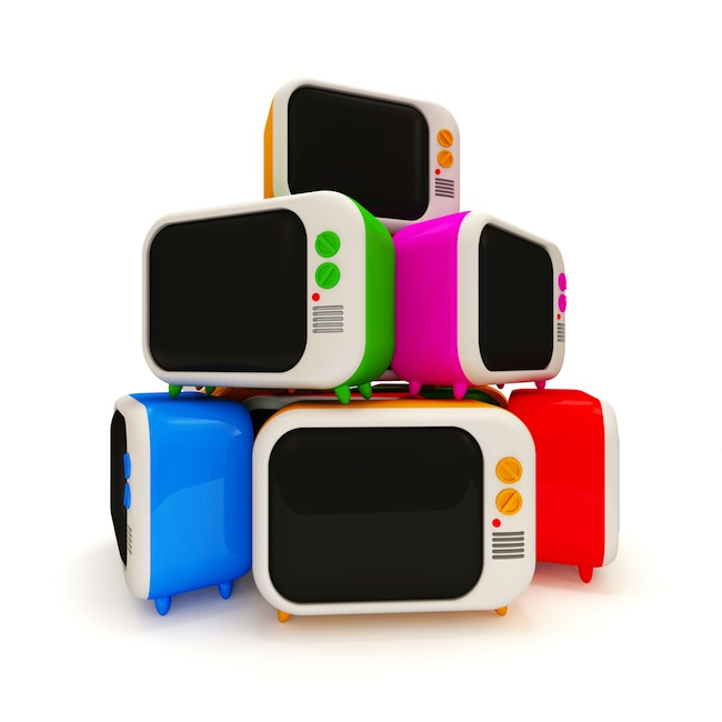 Heap of Colorful Retro TV on white background