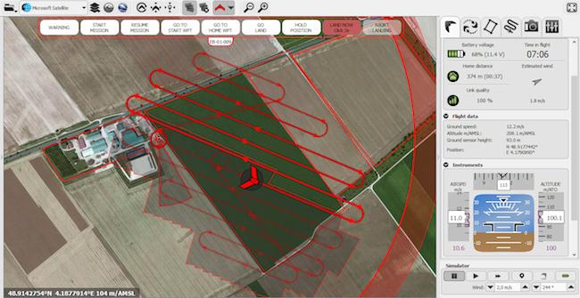 Plan de vol d'un drone Airinov pour analyser une parcelle