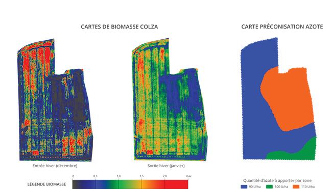 Analyse des besoins en azote d'une parcelle de colza par un drone d'Airinov