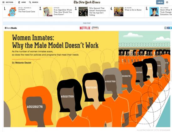"""article natif du New York Times sur les prisons féminines aux Etats unis qui sponsorise la série Netflix """"Orange is the new Black"""""""